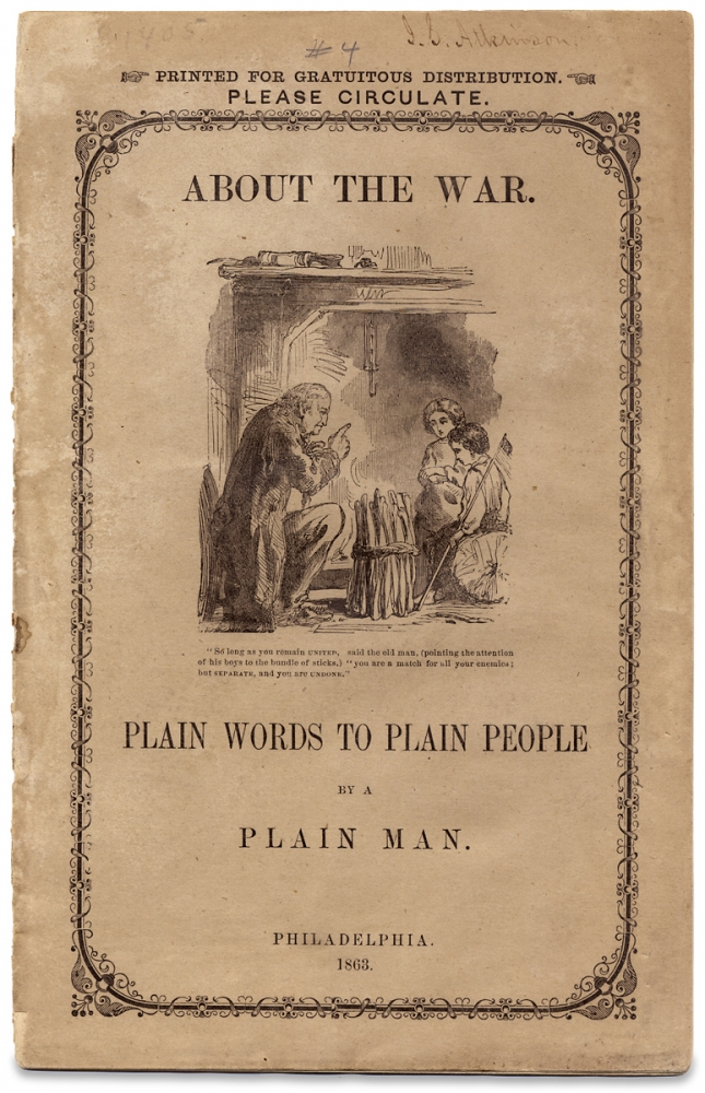 About the War. Plain Words to Plain People by a Plain Man. Ezra Mundy Hunt.