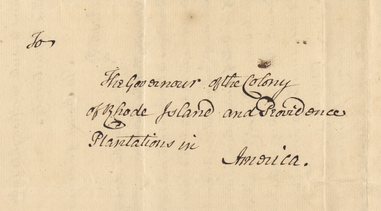[1764 LS from Joseph Sherwood to Governor of Rhode Island Plantation Colony Stephen Hopkins]. Colonial Agent Joseph Sherwood, c1708–1773, 1707–1785, Gov. Stehpen Hopkins.