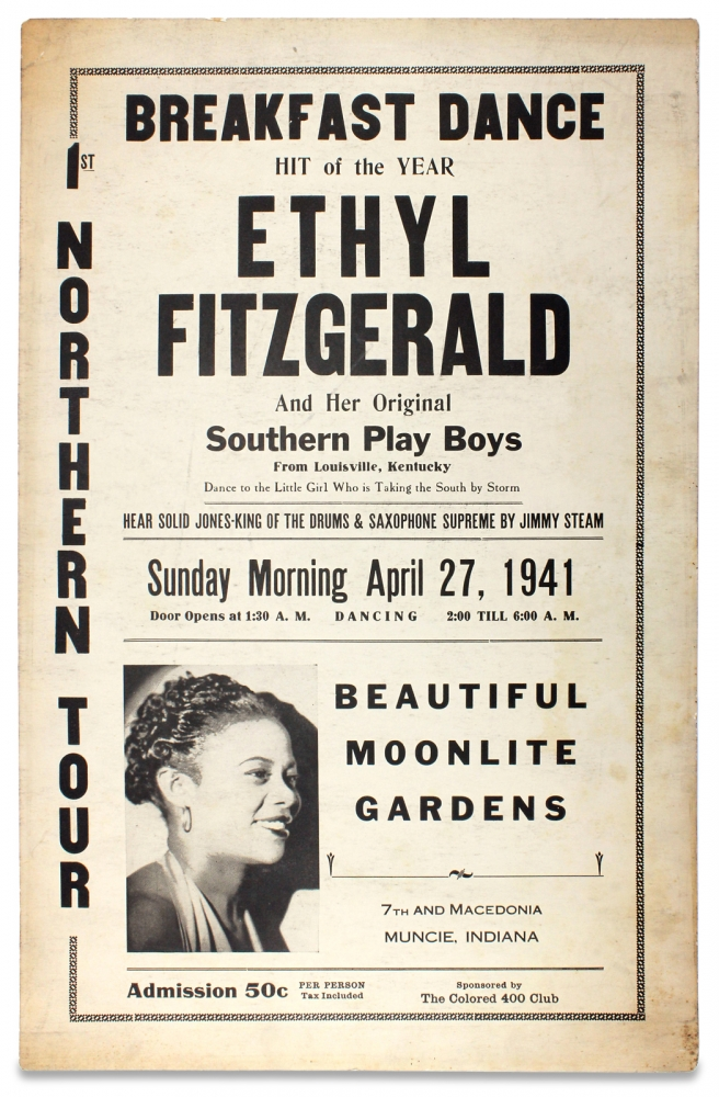 Breakfast Dance Hit of the Year, Ethyl Fitzgerald and Her Original Southern Play Boys from Louisville, Kentucky…1st Northern Tour. [African American Female Singer]. Ethyl Fitzgerald.
