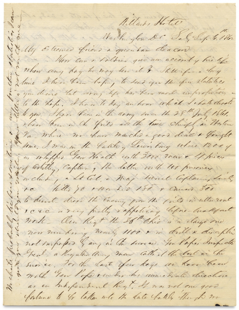 [1862 Civil War Letter by Major Ebenezer Baldwin Andrews, 36th Ohio Infantry, with Battle Content and Observations on His Regiment and the Army of the Potomac]. Ebenezer Baldwin Andrews, 1821–1880.