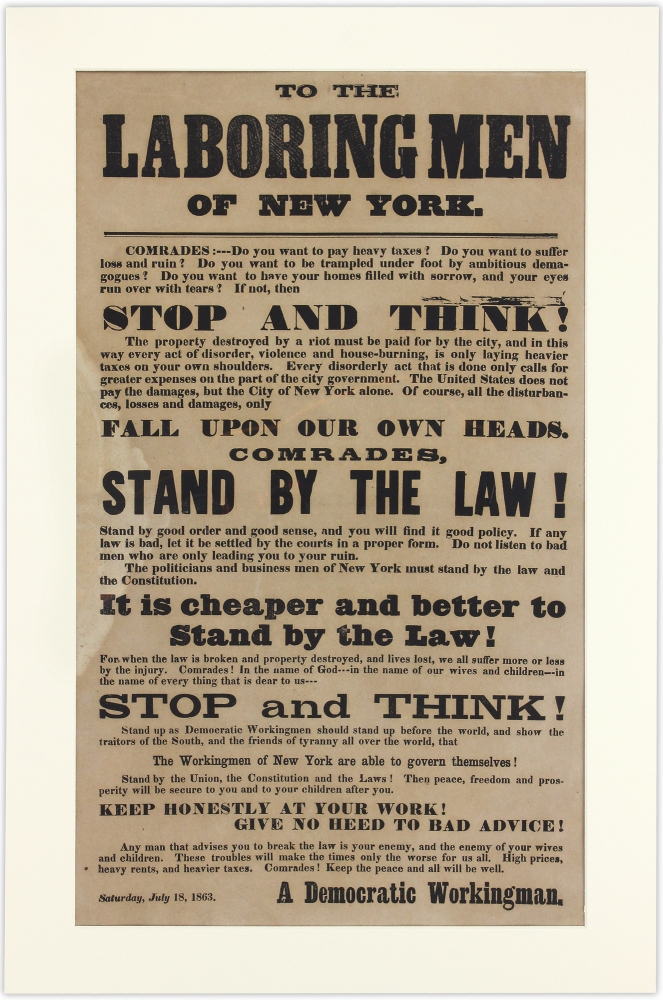 To the Laboring Men of New York. attributed to Sinclair Tousey.