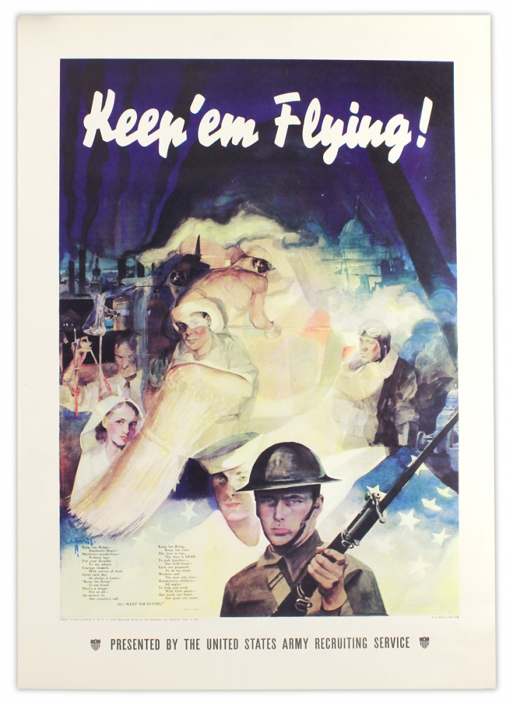 "Keep 'em Flying! [Second World War ""Uncle Sam"" homefront poster]. artist C C. Beall, author Jack Childs, 1892–1970, Cecil Calvert Beall."