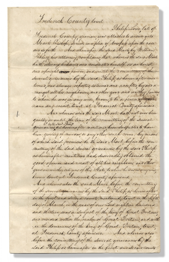 "[C.1833 Legal Manuscript: Defamation of Character in Maryland, A Public Accusation of Spousal Murder and of ""Murdering"" American Citizens in the War of 1812]. Plaintiff's Attorney William Schley, 1799–1872."