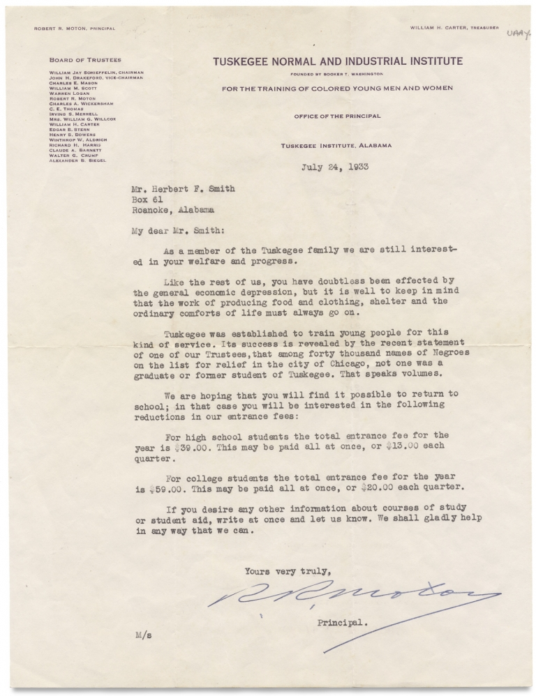 [Depression-Era Tuskegee Institute Circular, TLS, Tuition Leaflet]. Herbert F. Smith, Tuskegee Normal, Industrial Institute.