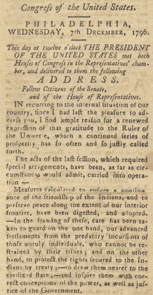 [1796 George Washington Final State of the Union Address published in Easton, Maryland's Maryland Herald, and Eastern Shore Intelligencer]. George Washington, 1732–1799, 1757–1823 John Leeds Bozman, J L. Bozman Esq.