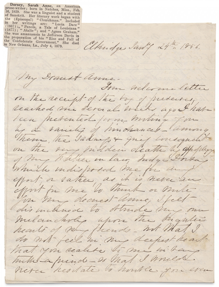 [1856 ALS by Sarah Anne Ellis Dorsey, Southern Writer. Likely written to her former teacher, the New York City Literary Hostess of Poe and Emerson, Anne Charlotte Botta, and discussing Southern poet Rosa Vertner Jeffrey]. Sarah A. Dorsey, 1829–1879, 1815–1891, Sarah Anne Ellis Dorsey, Anne Charlotte Botta.
