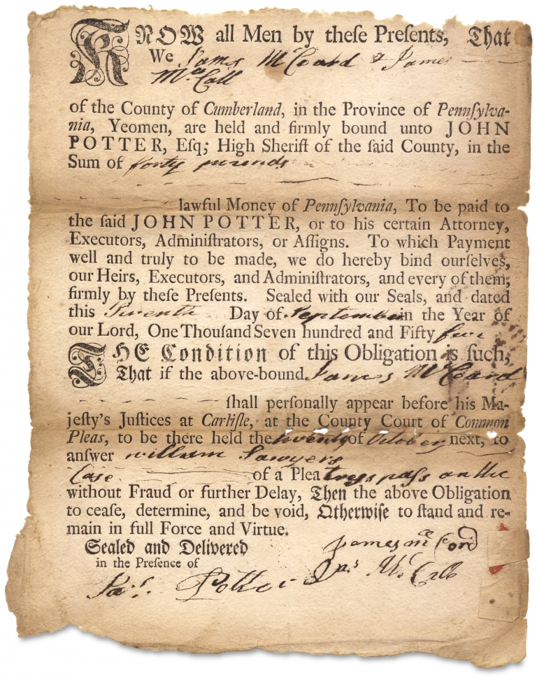 [1755 Carlisle, Cumberland County Printed and Manuscript Bond between James McCord and James McCall and High Sheriff John Potter]. James McCord, Jas. McCall, Jas. Potter, 1729–1789, James McCall, James Potter, High Sheriff John Potter.