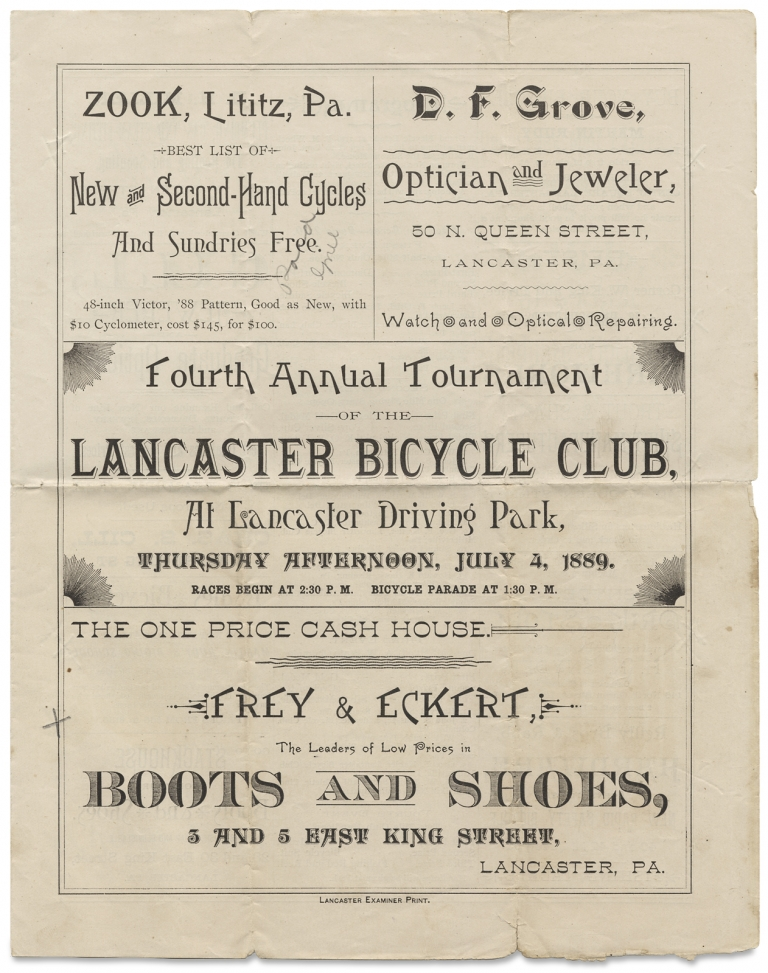 [1889 Lancaster Bicycle Club of Pennsylvania, Small Archive of Printed Matter, Correspondence, Receipts, and Other Papers]. Lancaster Bicycle Club of Pennsylvania.