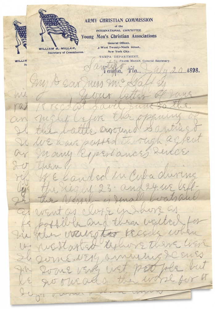 [1898 ALS on the Battle of San Juan Hill in Cuba during the Spanish American War and mentioning Theodore Roosevelt's Troops by a Soldier-Participant in the 71st Regiment, New York Volunteers]. J H. Everhart, John H. Everhart.