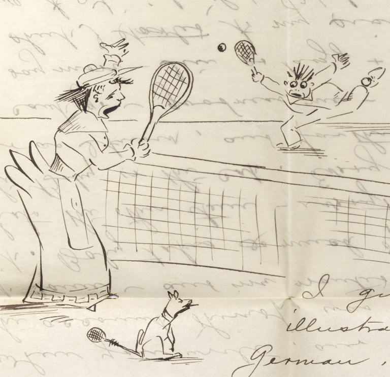 "[1892 and 1893, Two Humorously Illustrated Letters by Frank and Etta Willman of Salem, Oregon, One Depicting a Woman Tennis Player]. ""F L. W. Senior for Etta"", Etta Willman, Etta Anders Willman, 1861–1936, 1865–1904, Frank L. Willman Sr."