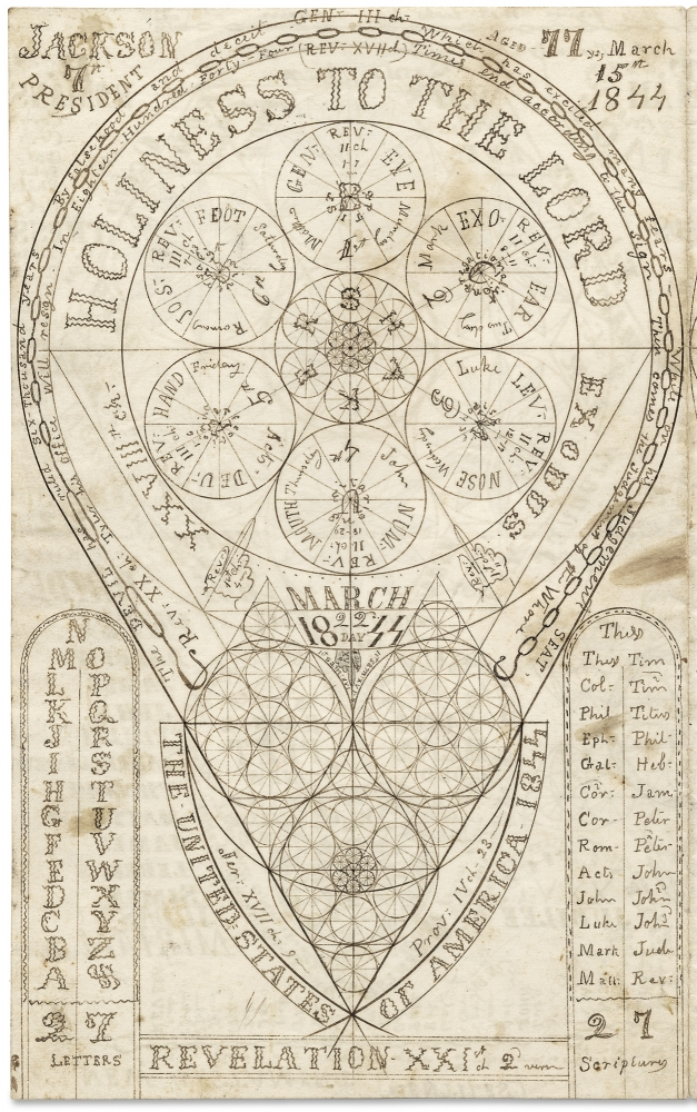 I wish you would tell me Sir what you do mean By drawing this figure that looks like a chain [opening caption of 1844 American Millerite Adventist Folk Art Spiritual Drawing]. Anon.