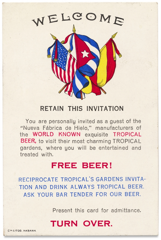 Welcome. Retain this Invitation… [Advertisement Card for Tropical Beer of Cuba]. Nueva Fabrica de Hielo.