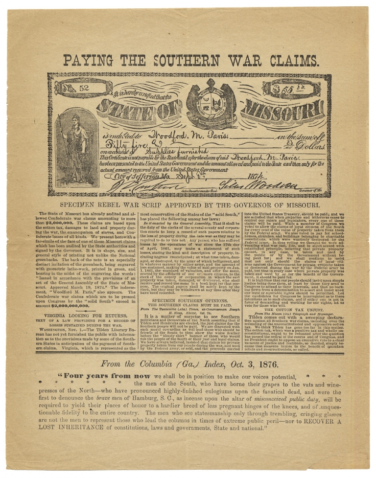Paying the Southern War Claims [caption title]. Anon.
