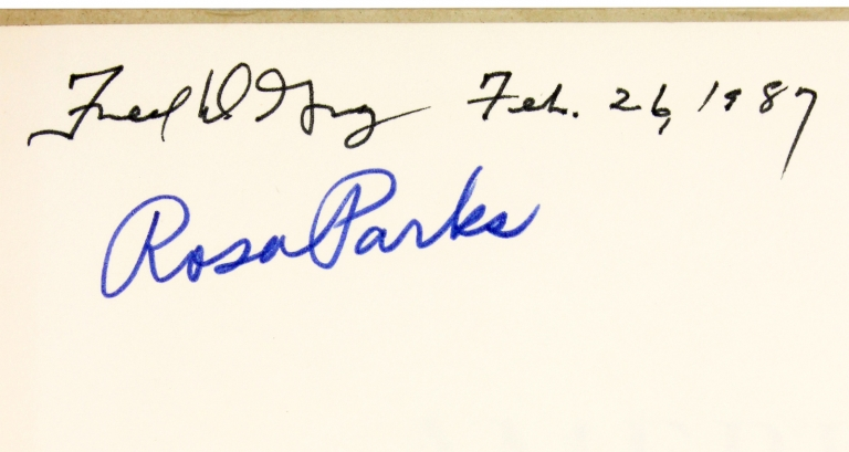 "[Signed by Rosa Parks et al:] ""Rosa Parks Wouldn't Budge"" within American Heritage, February 1972. Janet Stevenson, Senior Bruce Catton, 1913–2009, 1899–1978, 1913–2005, Rosa Parks."
