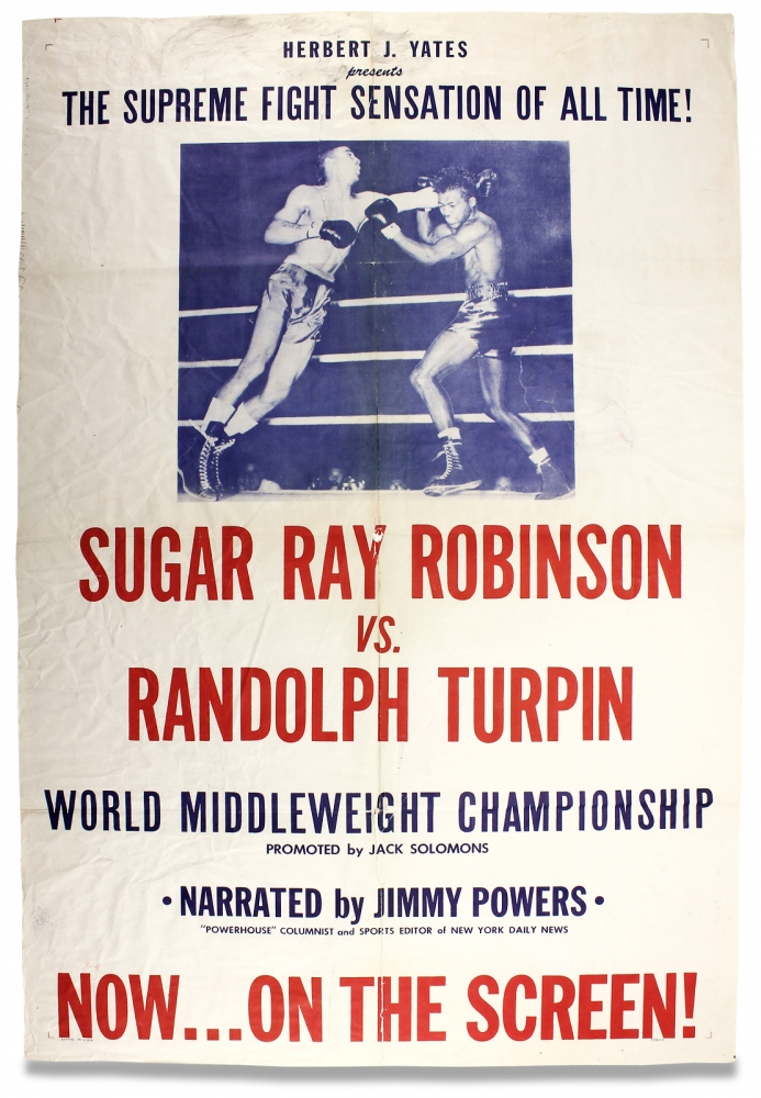 The Supreme Fight Sensation of All Time! Sugar Ray Robinson vs Randolph Turpin… [opening lines of poster]. Sugar Ray Robinson.