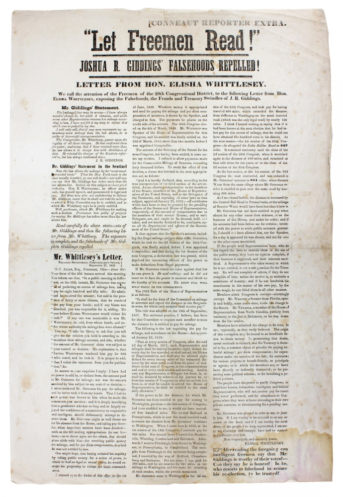 """Let Freemen Read!"" Joshua R. Giddings' Falsehoods Repelled! [opening lines of broadside Ohio newspaper extra]. Elisha Whittlesey, 1783–1863, 1795–1864, Joshua R. Giddings."
