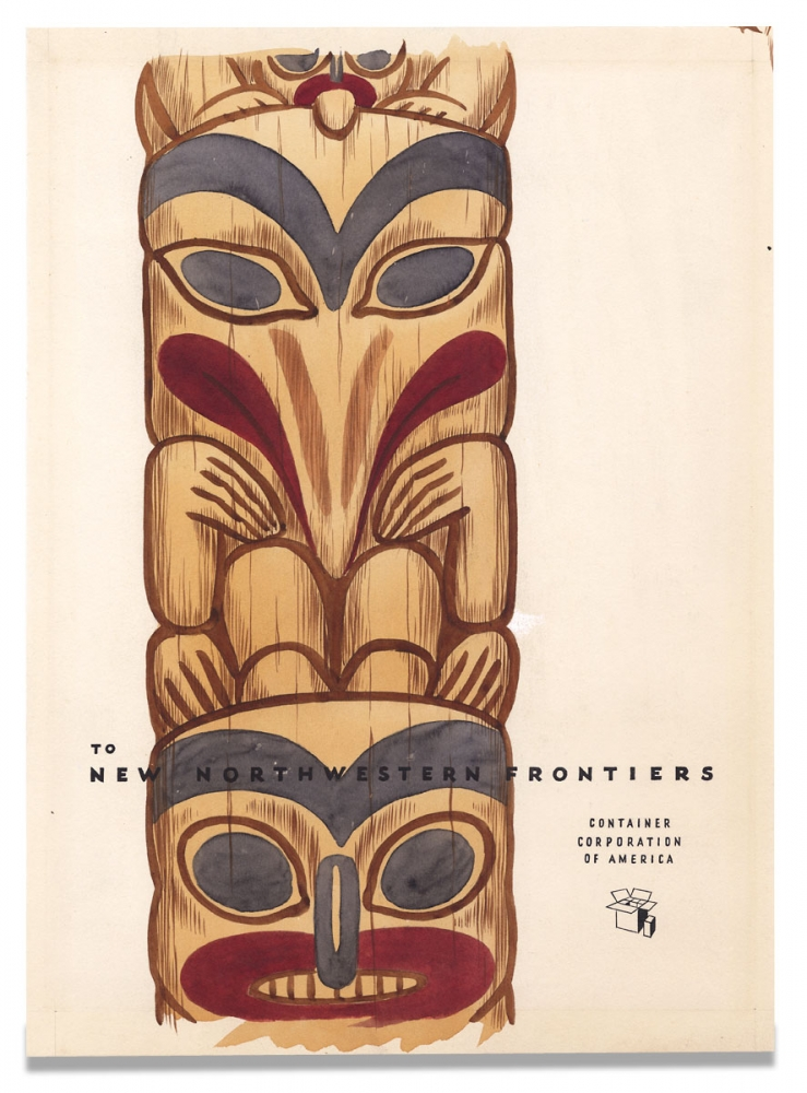 [Original Watercolor and Ink Advertising Artwork depicting a Northwest Coast Native American Totem Pole:] To New Northwestern Frontiers, Container Corporation of America. Container Corporation of America.