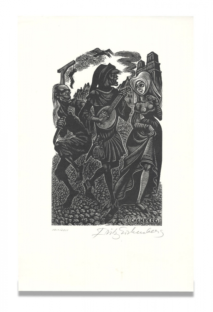 [Original Fritz Eichenberg Wood Engraving for The Lyrical Poems of Francois Villon; separately issued as a Print by the Limited Editions Club, Signed by the Artist]. Fritz Eichenberg.
