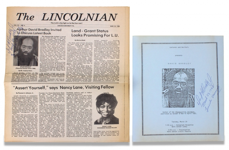 """[Lincoln University Broadside and Newspaper for a Lecture by David Bradley, author of the Black-Themed, PEN/Faulkner Award-winning Novel, """"The Chaneysville Incident."""" Both Signed by Bradley]. David Bradley, Audrey Dean, b.1950, Lincoln University."""