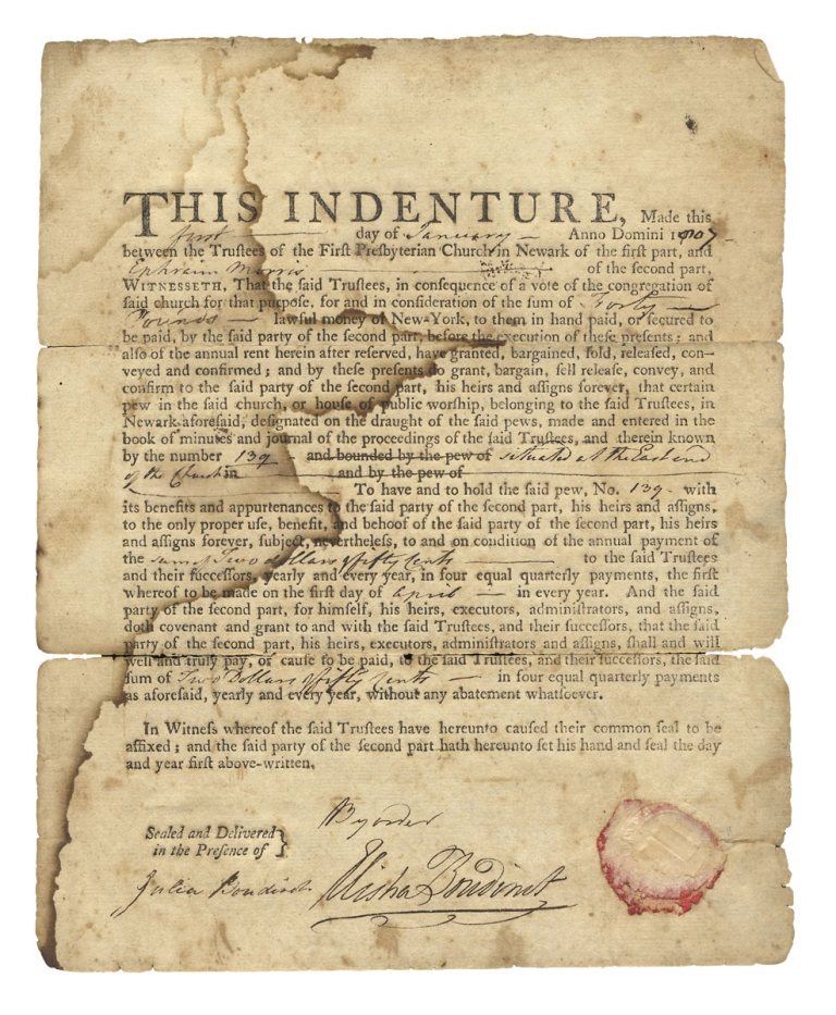 [1807 Document Signed by Elisha Boudinot, Revolutionary War Patriot and New Jersey Supreme Court Justice]. Elisha Boudinot, 1749–1819.