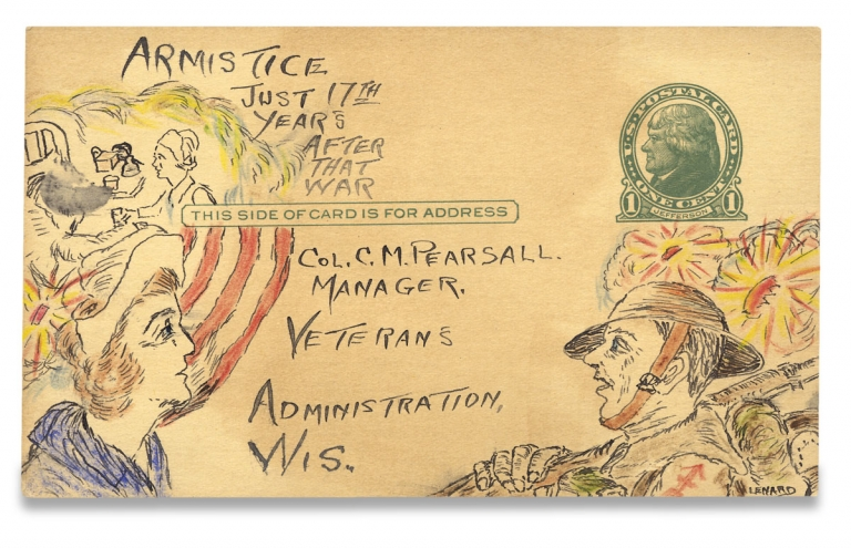 [PTSD by Postcard? Disabled Veteran and Cachet Designer Leonard Borkowski's Hand-Illustrated Postcards, showing Soldiers and Nurses at the Veterans Administration Soldier's Home in Milwaukee, Wisconsin]. Leonard Borkowski, Col. Charles M. Pearsall.