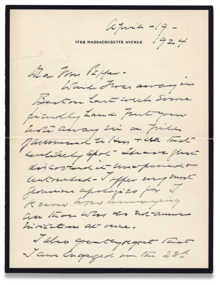 1924 Autograph Letter Signed by Henry Cabot Lodge, Republican senator and Massachusetts Historian. Henry Cabot Lodge, 1850–1924.