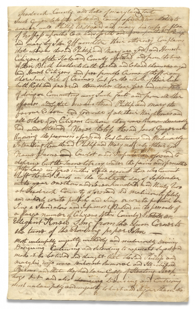 """[Slander and Libel: 1793 Maryland Legal Document accusing Jacob Guyer of Falsely Proclaiming Plaintiffs Philip and Mary Willyard as Thieves by the Public Singing of an """"Infamous Ballad""""]. attorney John G. Hamilton."""