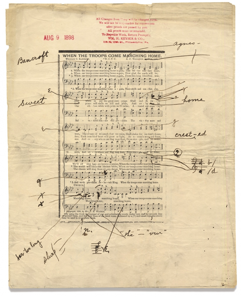 """""""When the Troops Come Marching Home"""" and """"Help Me Be True."""" [1898 Publisher's Music Proof Sheets with emendations and corrections]. Agnes C. Woolston, c.1859–?, Mrs. C. H. Woolston."""
