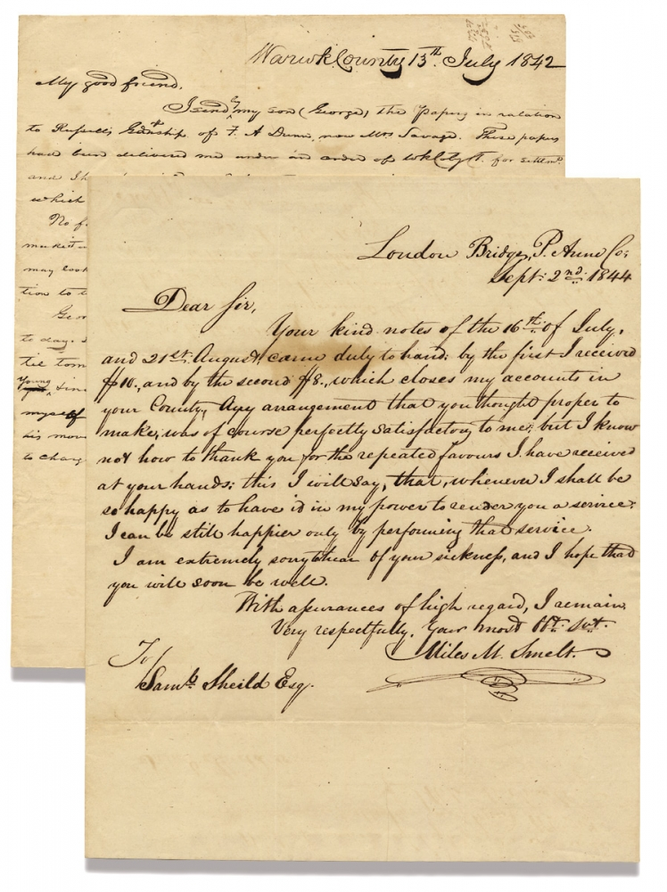 [Two Autograph Letters Signed taken as Civil War Trophies after the Evacuations of Yorktown and Gloucester Point, Virginia in May 1862]. A H. Mershon.