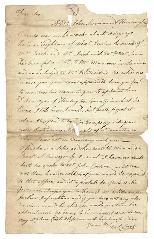 [C.1809–1813 Autograph Letter Signed by Nathaniel Irish to General Andrew Porter, both former Revolutionary War Officers and Founding Members of the Society of the Cincinnati]. Nat. Irish, 1737–1816, 1743–1813, Nathaniel Irish, Andrew Porter.