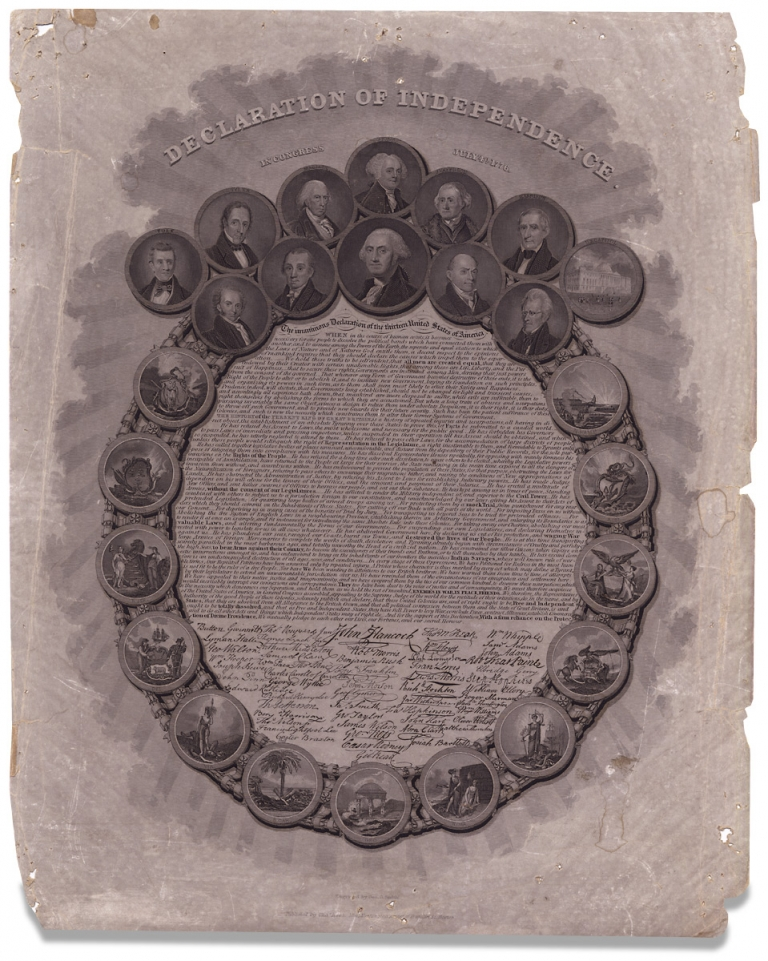 Declaration of Independence. In Congress July 4th 1776. [caption title]. engraver Geo. G. Smith, 1743–1826, Thomas Jefferson.