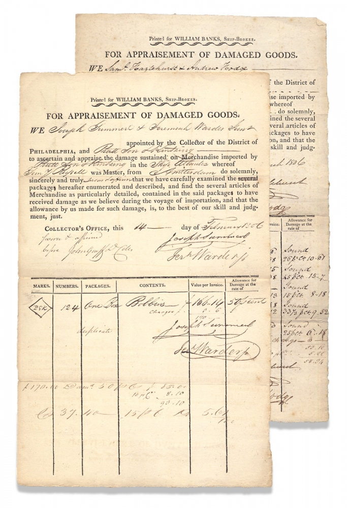"""For Appraisement of Damaged Goods. [two partly-printed forms """"Printed for William Banks, Ship-Broker.""""]. D. Collr John Graff, c.1760–?, Deputy Collector of Customs John Graff."""