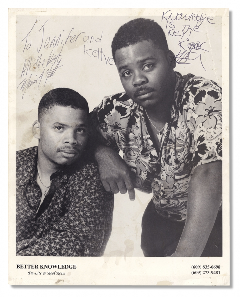 [Publicity Photograph for Hip-Hop Artists Da-Lite and Kool Keem performing as Better Knowledge, inscribed and signed by both]. Da-Lite, Kool Keem, a k. a. Marvin J. Hart.