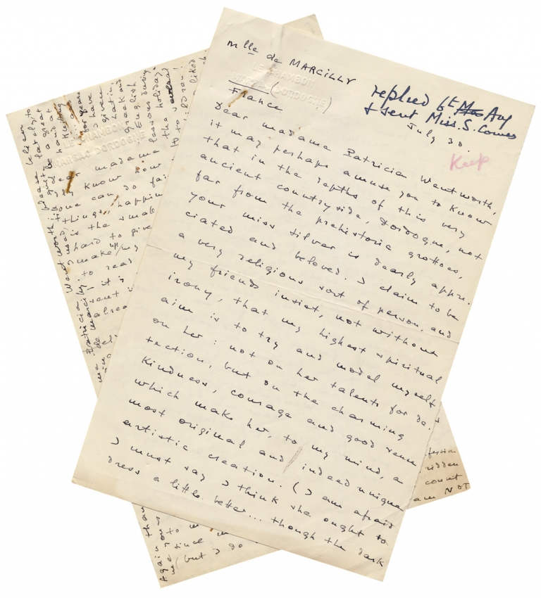 """[Two Fan Letters from a Woman to British Crime Fiction Writer Patricia Wentworth discussing Wentworth's heroine, Private Detective Miss Maud Silver, Spinsters, and Wentworth's book """"Miss Silver Comes to Stay""""]. Francine de Marcilly, 1877–1961, a. k. a. Patricia Wentworth Dora Amy Elles."""