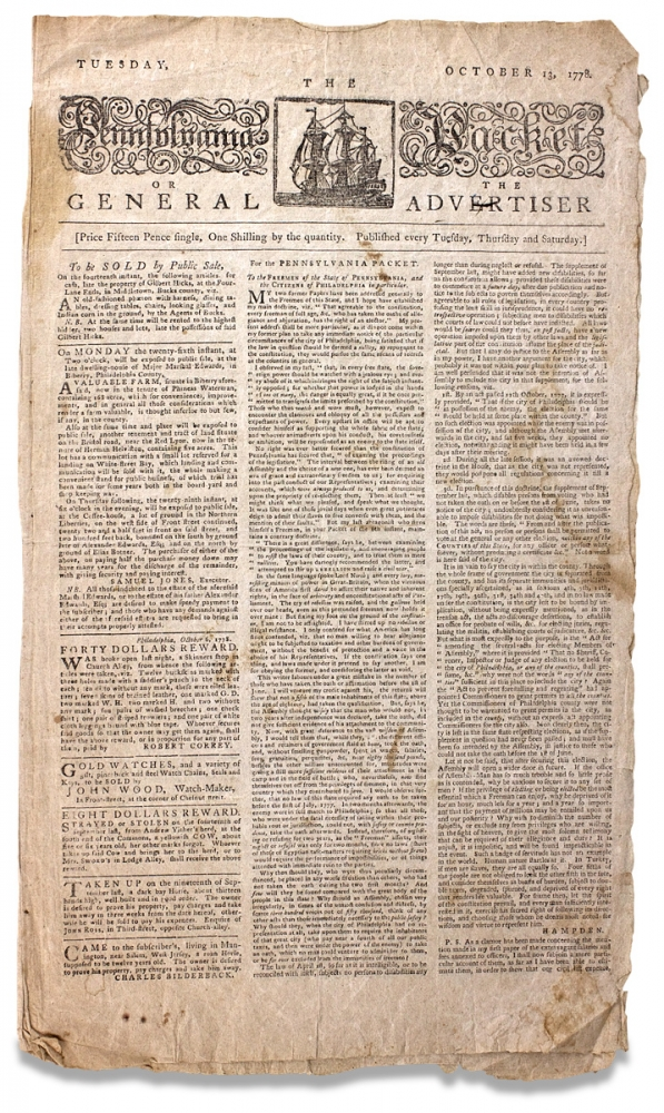 [Oaths of Allegiance and Elections in Revolutionary War Philadelphia; Congress Supplies the Army and Suppresses Vice] The Pennsylvania Packet or The General Advertiser, Tuesday, October 13, 1778. John Dunlap.