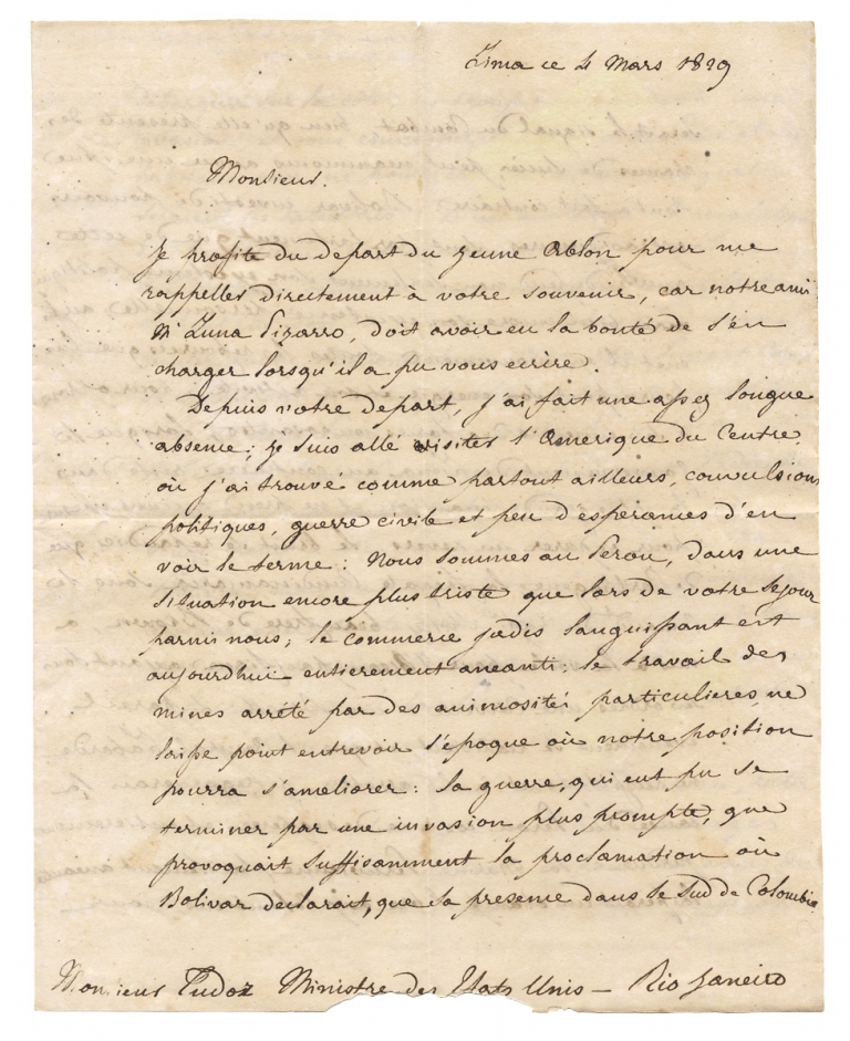 [1829 Autograph Letter Signed by a Papal Diplomat in Peru to American Diplomat William Tudor in Brazil, written days after the Battle of Tarqui and concerning the Liberator Simón Bolívar and the Wars and Unrest in South and Central America]. Achille Allier, 1779–1830, Achille Allier di Pons, William Tudor, Simon Bolivar.