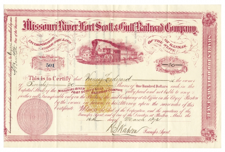 [Stock Certificate:] Missouri River Fort Scott & Gulf Railroad Company, Incorporated under the Laws of The State of Kansas. Transfer Agent R S. Watson, Director V. Thayer.