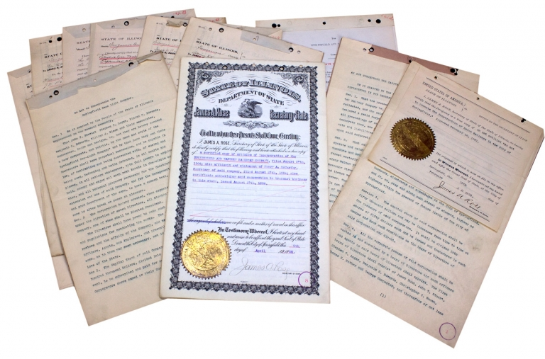 [1904 Springfield and Eastern Railroad of Illinois and New Jersey Articles and Certificate of Incorporation, plus 10 Sangamon County, Illinois Railroad, Street Railway, and/or Utility Corporate Documents]. Secretary of State's Office State of Illinois, Department of State State of New Jersey.