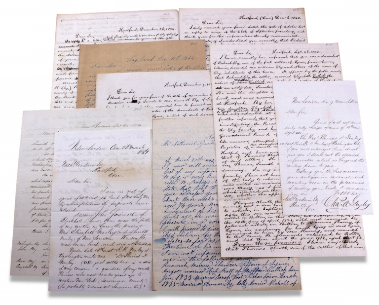 [1844–1845 and 1854, Group of 9 Autograph Letters Signed to and from Nathaniel Goodwin of Hartford Connecticut on the Genealogies of the Ely Family of Lyme, Connecticut and Related Familes]. Nathaniel Goodwin, Hubbard Ely Esq., Amos H. Ely, James Ely, Chas. A. Gurley, Henry M. Whittelsey.