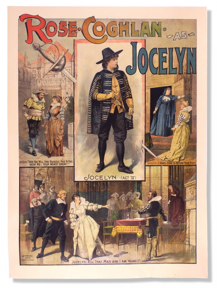 Rose Coghlan as Jocelyn. [chromolithographic theatrical poster for a burlesque player and leading actress in a cross-dressing role]. Rose Coghlan, 1851–1932, 1842–1899, Charles F. Coghlan.