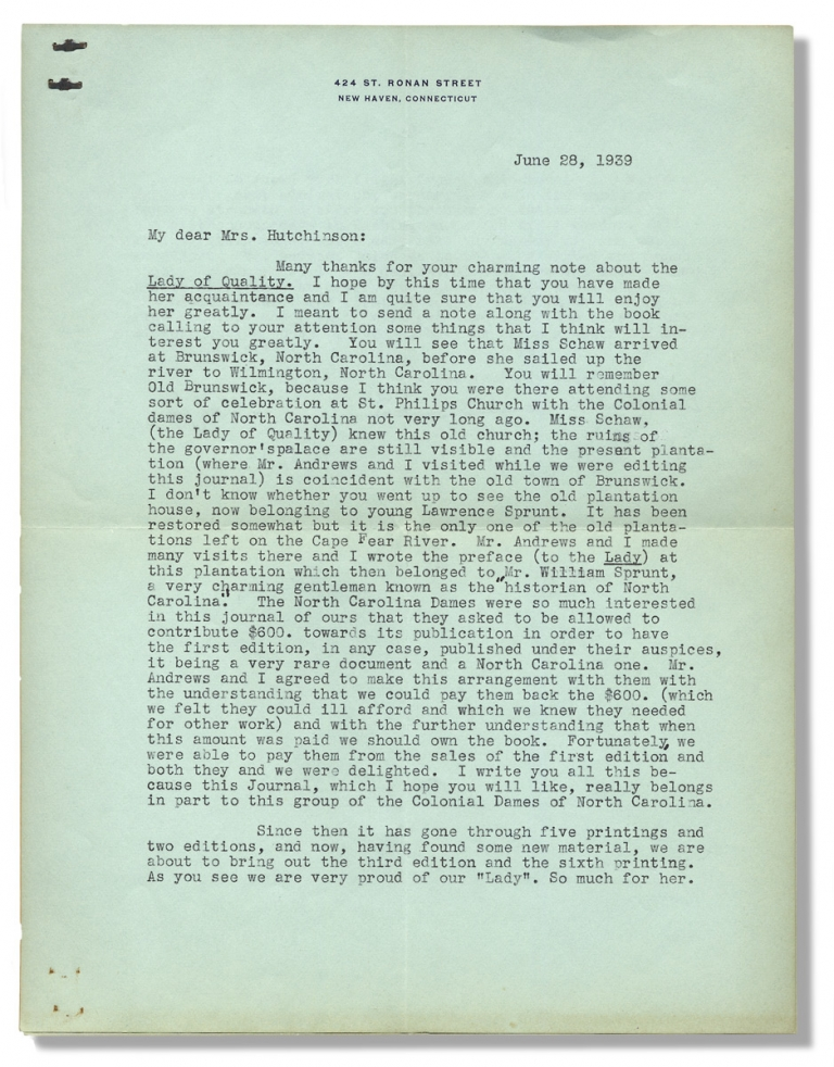 """[Typed Letter Signed by Historian Evangeline W. Andrews, discussing North Carolina and the Publishing of Her Book """"Journal of a Lady of Quality""""]. Evangeline W. Andrews, 1870–1962, Evangeline Walker Andrews."""