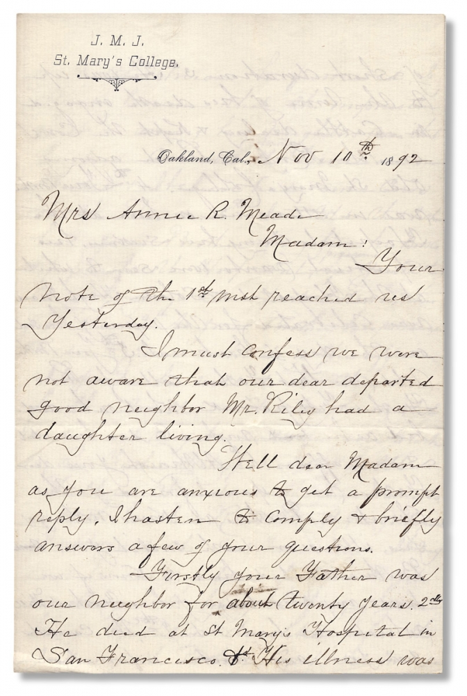 [1892 Autograph Letter Signed by School Founder John Downey, i.e., Brother Sabinian, writing from St. Mary's College in Oakland, California]. Brother Sabinian, John Downey i e.