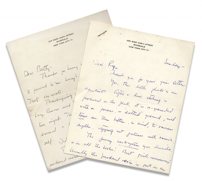 """[Two Autograph Letters Signed by Isabel Bishop, American Painter and Graphic Artist]. """"Isabel"""", 1902–1988, Isabel Bishop."""