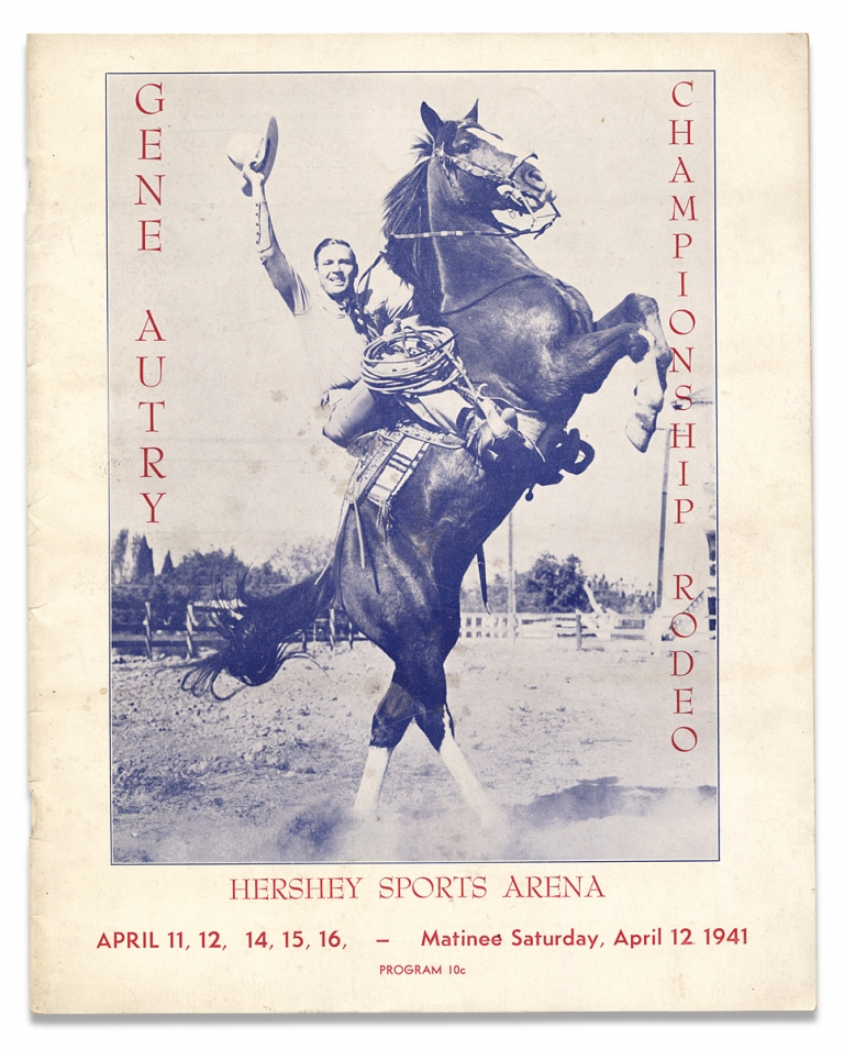 Gene Autry Championship Rodeo, Hershey Sports Arena April 11, 12, 14, 15, 16, – Matinee Saturday, April 12, 1941 [cover title]. Gene Autry, 1907–1998, Orvon Grover Autry.
