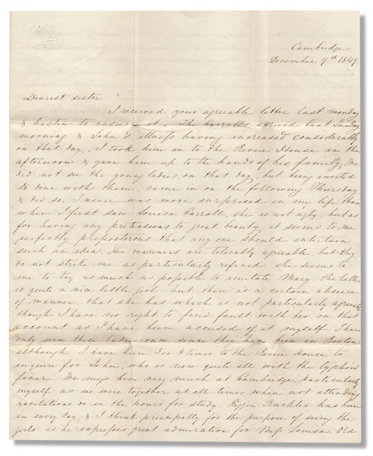 [1849 Autograph Letter Signed Discussing the Carroll Family of Maryland by Charles Ridgely, Affluent Marylander, writing to His Sister, Eliza née Ridgely White]. Charles Ridgely, 1830–1872.