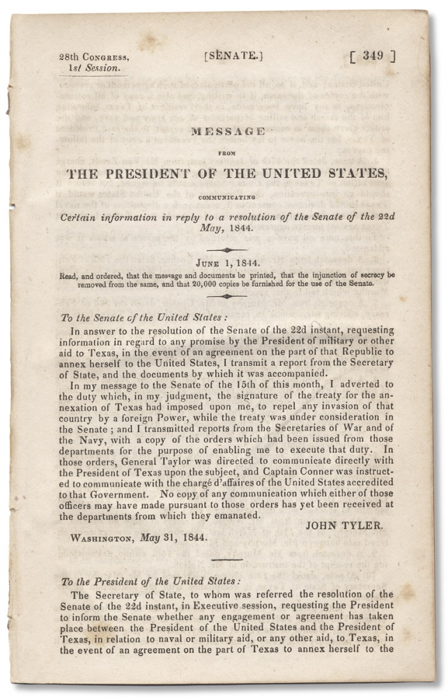 [Texas:] Message From The President of the United States, Communicating Certain Information in Reply to a Resolution of the Senate of the 22d May 1844. James K. Polk.