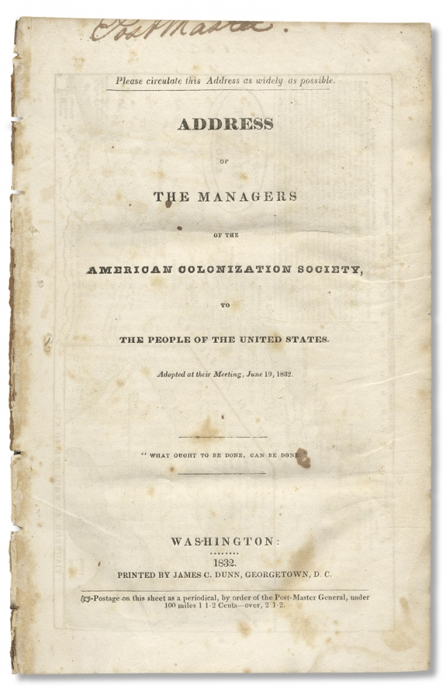 [Map of Colony of Liberia on the West Coat of Africa within:] Address of the Managers of the American Colonization Society, to The People of the United States, Adopted at their Meeting, June 19, 1832. R[alph, Gurley, andolph.