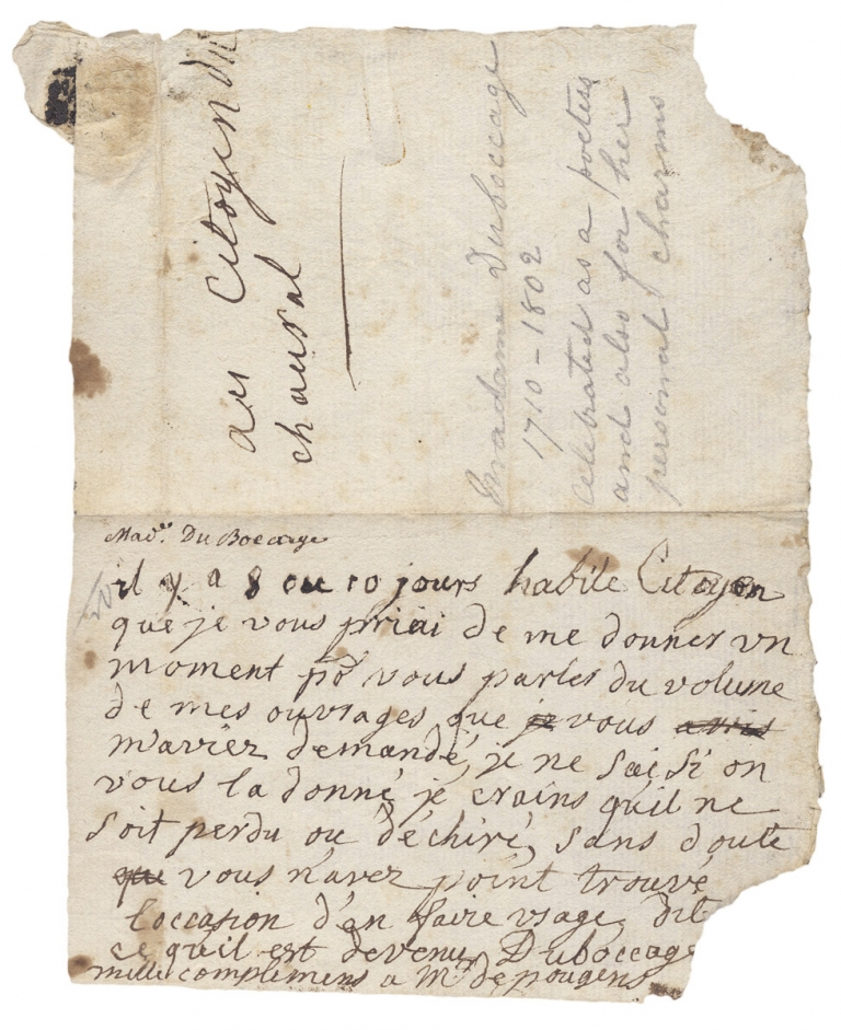 [Autograph Note Signed by Anne-Marie du Boccage, 18th-Century French Writer, Poet, Playwright, and Saloniste]. Duboccage, 1710–1802, Anne-Marie du Boccage.