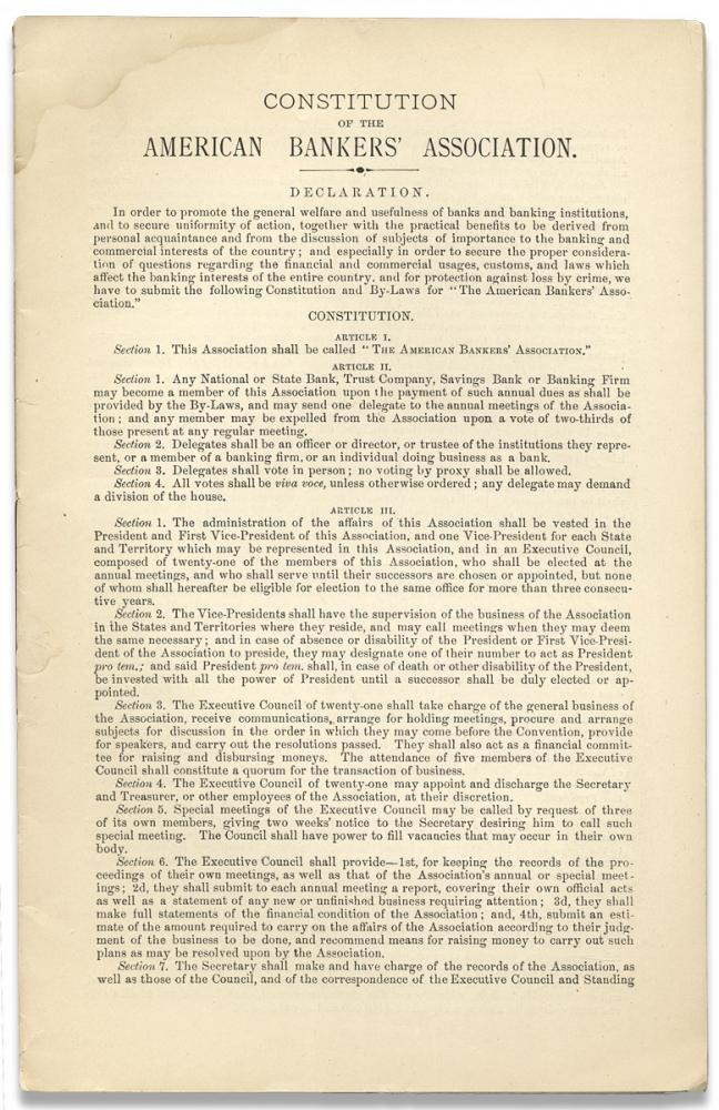 Constitution of the American Bankers' Association. [caption title]. American Bankers' Association.