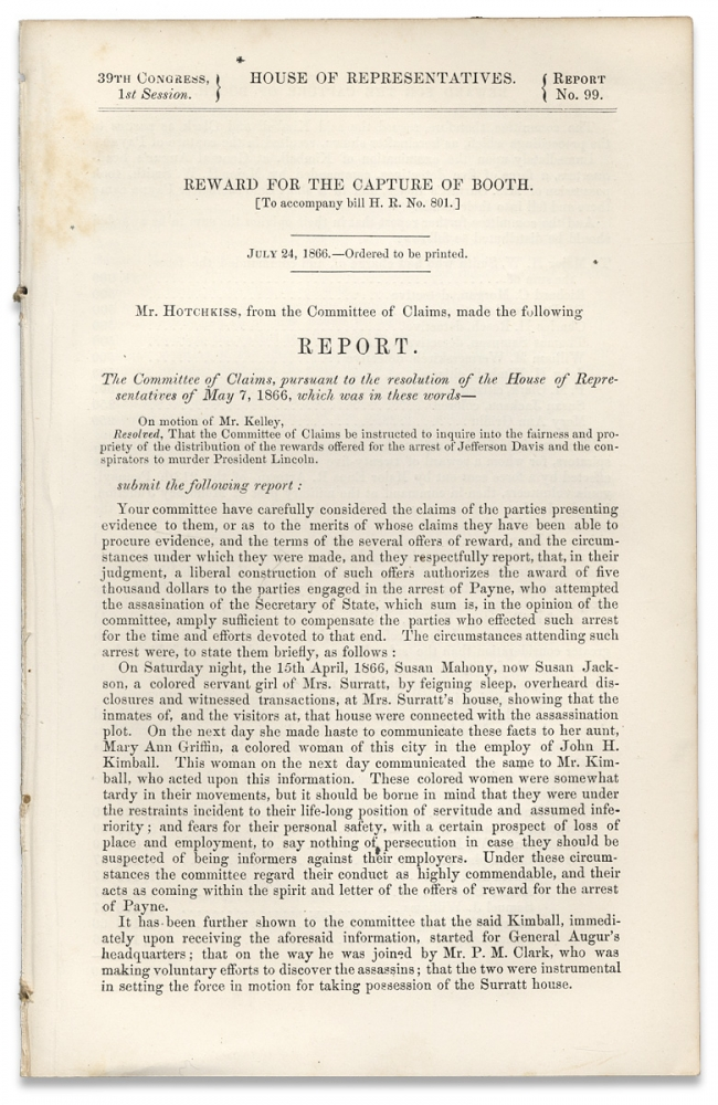 Reward for the Capture of Booth. [House of Representatives 39th Congress, 1st Session. Report No. 99]. Giles Waldo Hotchkiss, 1815–1878.